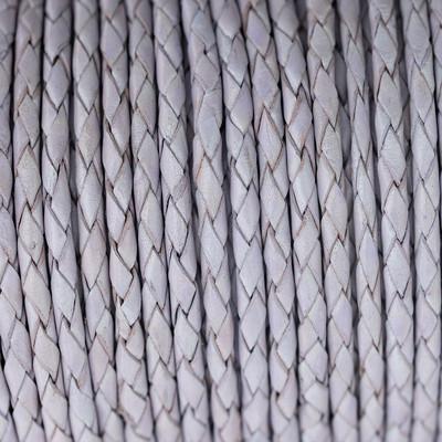 Lederband rund geflochten, 100cm, 5mm, LAVENDEL