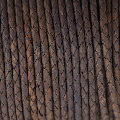 Lederband rund geflochten, 100cm, 4mm, LILA meliert