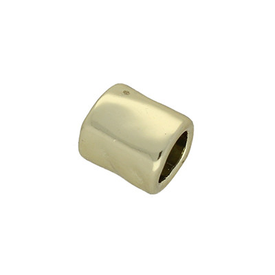 Großlochperle, innen 5mm, 9x8mm, goldfarben, Metall