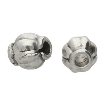 Perle (2 Stück), innen 1mm, Ø 4mm, antik-silberfarben, Metall