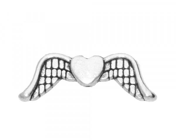 Perle, Herz mit Flügeln 20x7x3, Loch Ø 1mm, antik silberfarben, Metall