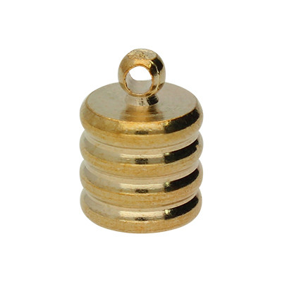 Endkappe mit Öse, 11x8mm, Loch-Ø 6,0mm, Metall, roségoldfarben