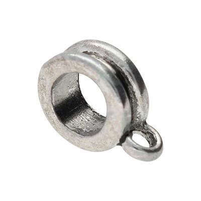 Anhängerhalter rund (2 Stück), rund, 11x8mm, antik-silberfarben, Metall