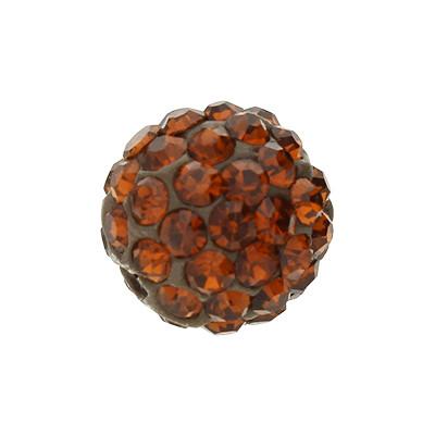 Strassperle, innen 1,5mm, Ø 10mm, braun, Harz