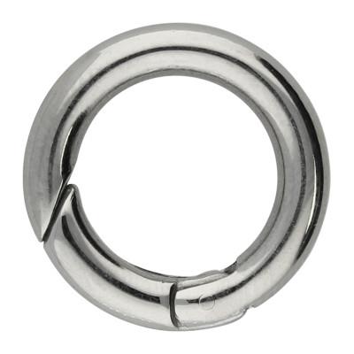 Ringverschluss, rund, 1 Stück, 20x3,5mm, Edelstahl, silberfarben