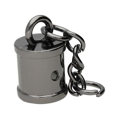 Endkappe mit Kette, 14x23mm, innen 10mm, Metall, schwarz