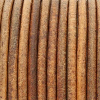 Rundriemen, Lederschnur, 100cm, 3mm, VINTAGE COGNAC dunkel