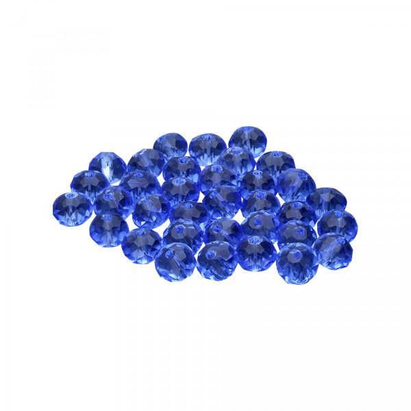 Glasperlen (5 Stück), innen 1mm, 6x5mm, faciert, BLAU