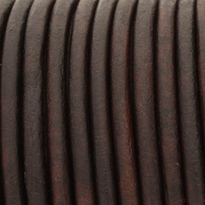 Rundriemen, Lederschnur, 100cm, 3mm, VINTAGE BRAUN