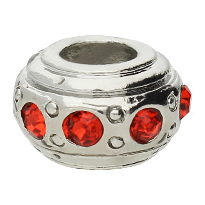 Großlochperle mit Straßsteinen, rot, innen 4,5mm, 11x6,5mm, silberfarben, Metall