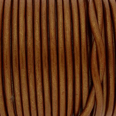 Rundriemen, Lederschnur, 100cm, 3mm, METALLIC CARAMEL