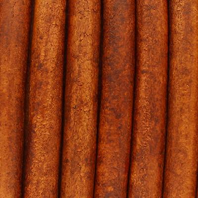 Rundriemen, Lederschnur, 100cm, 6mm, BURNT ORANGE VINTAGE