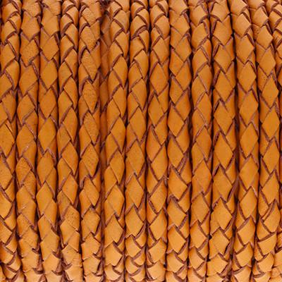 Lederband rund geflochten, 100cm, 4mm, VINTAGE ORANGE