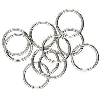 Ring, rund, 10 Stück, 10mm, innen 8mm, Edelstahl, silberfarben