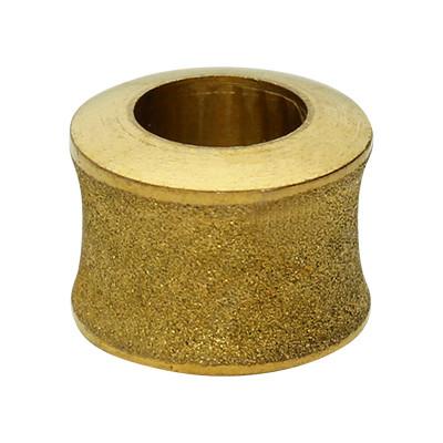 Großlochperle, innen 6mm, 11x9mm, goldfarben, Edelstahl mattiert