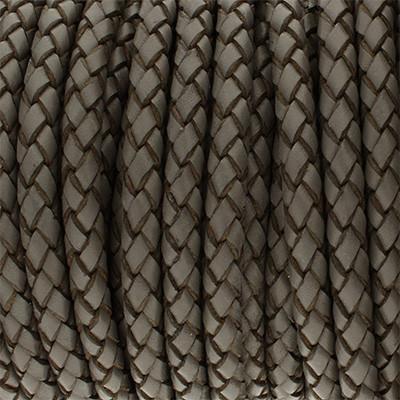 Premium Lederband rund geflochten, 100cm, 6mm, DUNKELGRAU