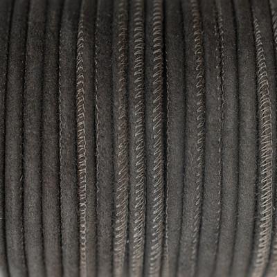 Veloursleder rund gesäumt, 100cm, 6mm, DUNKELBRAUN