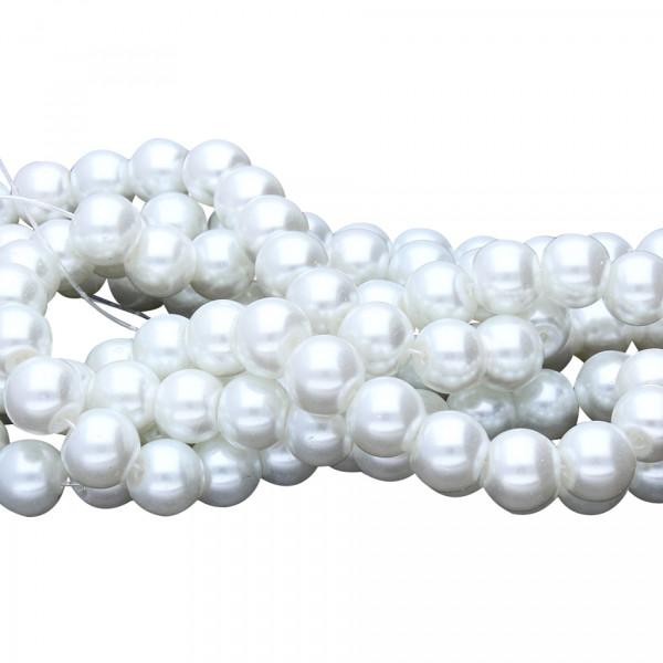 Glasperlenstrang (ca. 114 Stück) , innen 1mm, 7,5x8mm, perlmuttfarben