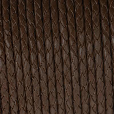 Lederband rund geflochten, 100cm, 4mm, BRAUN