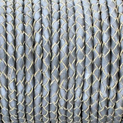 Lederband, rund geflochten, 100cm, 3mm, METALLIC SILBERGRAU