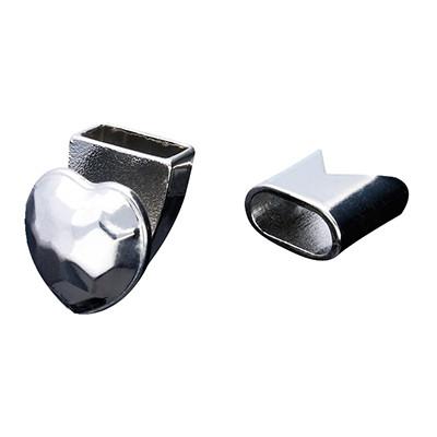 Armbandhaken-Verschluss, 15x13mm, Metall, silberfarben, Kappe 13x13mm, innen 10x5mm