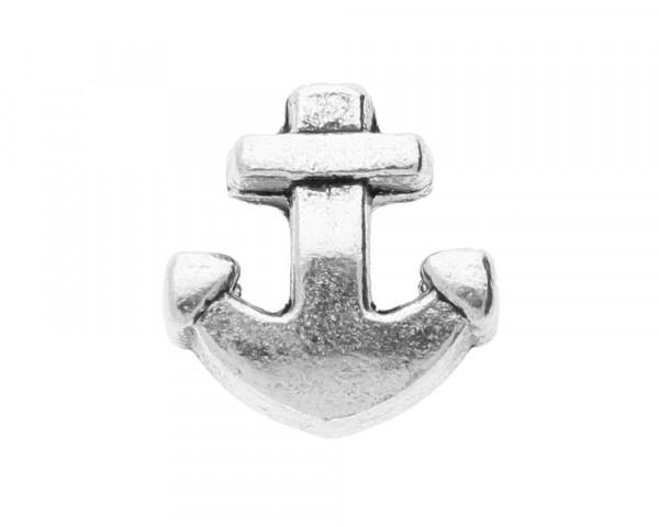 Großloch-Perle Anker, innen 4,5mm, 13x7,5mm, silberfarben, Metall
