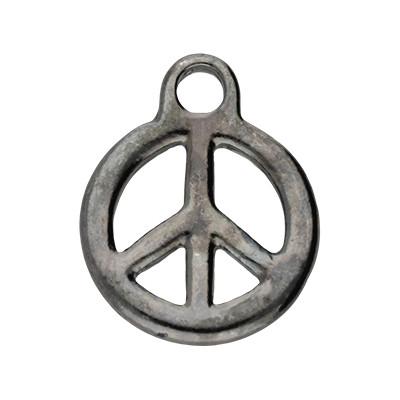 Anhänger, Peace, 23x18mm, schwarz, Metall