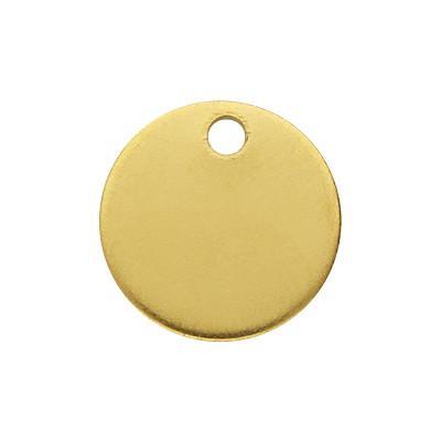 Anhänger (Plättchen), rund, Ø 12x1mm, goldfarben, Edelstahl
