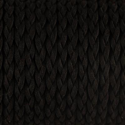 Flachriemen, Veloursleder, geflochten, 6x2mm, Schwarz