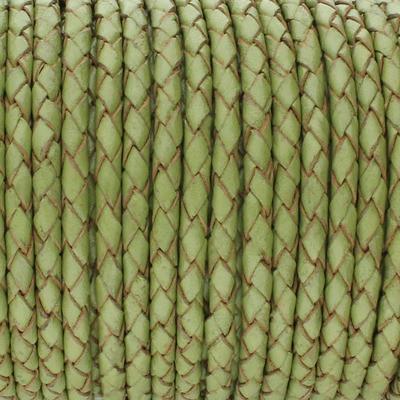 Lederband rund geflochten, 100cm, 4mm, LINDGRÜN mit Naturkanten