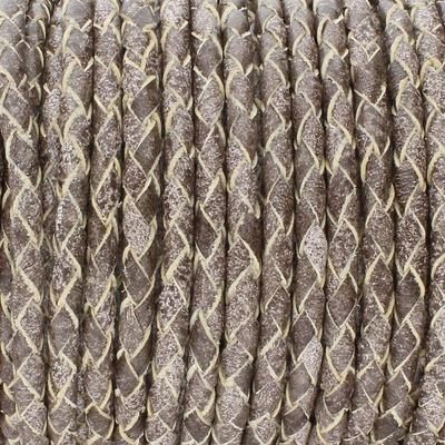 Lederband rund geflochten, 100cm, 3mm, DUNKELTAUPE meliert