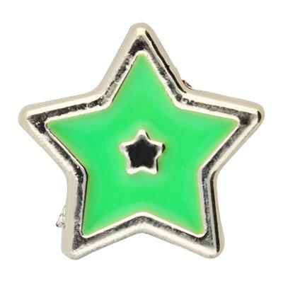 Großlochperle, Stern, innen 5mm, 18x8mm, roségoldfarben-grün, Acryl