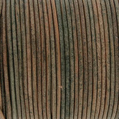 Rundriemen, Lederschnur, 100cm, 1,5mm, MOOSGRÜN VINTAGE