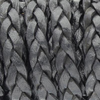 Lederband flach geflochten, 100cm, ca. 5x2,7mm, SCHWARZ