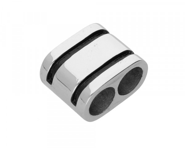 Doppel-Slider, 16 x 13 x 9,5mm, Innenmaß: 6mm, Edelstahl, silberfarben