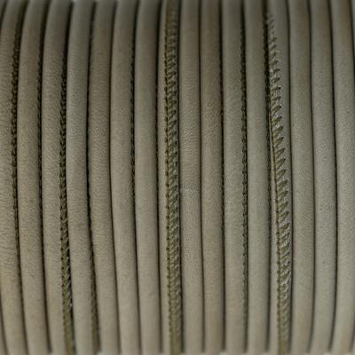 Nappaleder rund gesäumt, 100cm, 4mm, KHAKIGRAU
