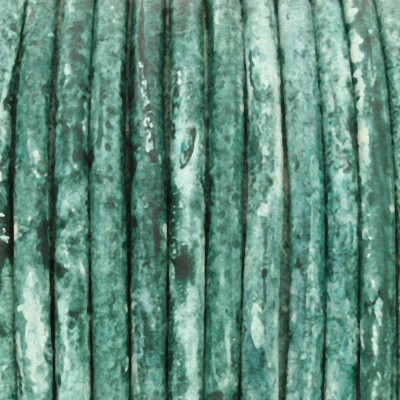 Rundriemen, Lederschnur, 100cm, 2mm, GRÜN meliert