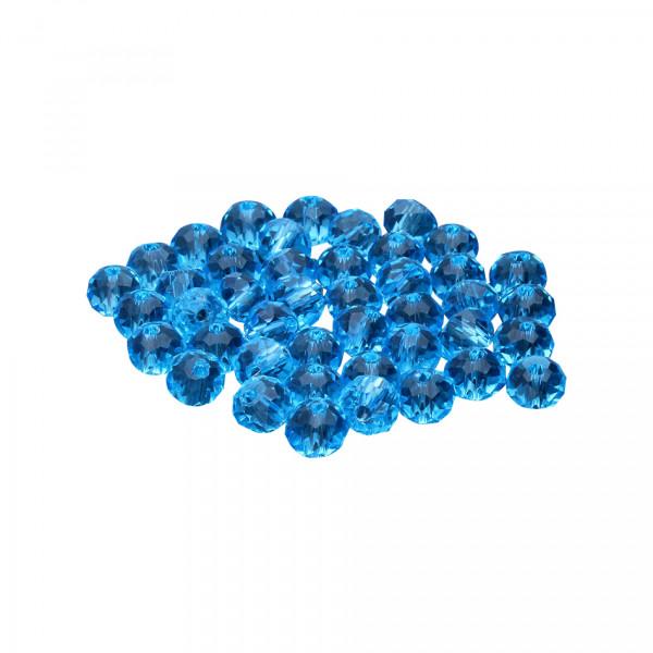 Glasperlen (5 Stück), innen 1mm, 6x5mm, faciert, TÜRKIS