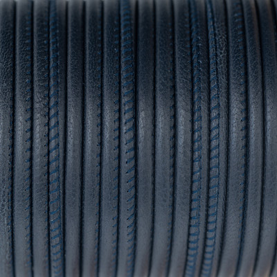 Nappaleder rund gesäumt, 100cm, 2,5mm, NAVY