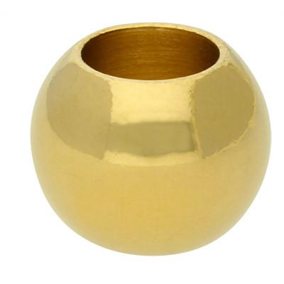 Großlochperle, innen 6mm, 11x8,5mm, goldfarben, Edelstahl