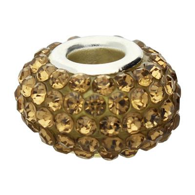 Großlochperle mit Straßsteinen, innen 5mm, 15x10mm, goldfarben, Metall