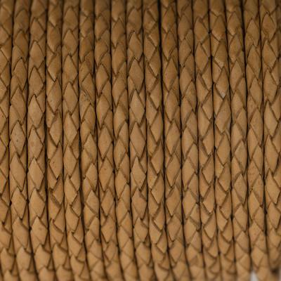 Lederband rund geflochten, 100cm, 3mm, COGNAC