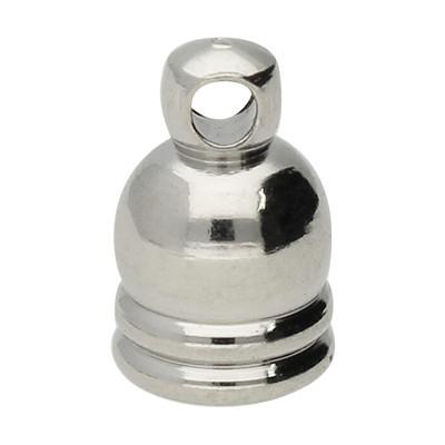 Endkappe mit Öse, 6x9mm, Loch-Ø 4,0mm, Metall, silberfarben