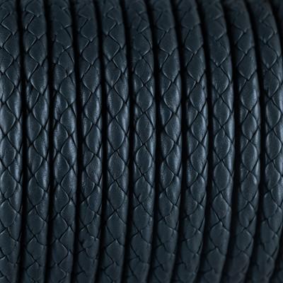 Nappaleder rund geflochten - extra weich, 100cm, 6mm, ANTHRAZIT