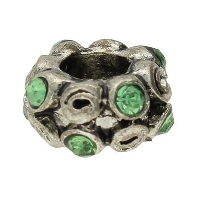 Großlochperle, innen 5mm, 11x6mm, grün & antik-silberfarben, Metall