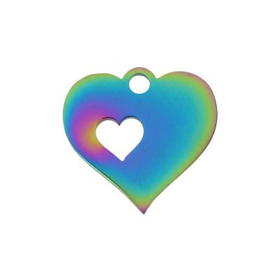 """Anhänger / Plättchen, """"Herz in Herz"""", Ø 12x13x1mm, Öse 1,5mm, multicolor, Edelstahl"""