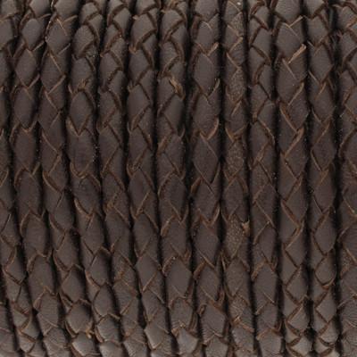 Nappaleder rund geflochten - extra weich, 100cm, 4mm, DUNKELBRAUN