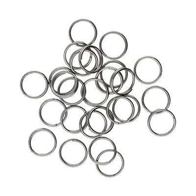 Spiralring, rund, 10 Stück, 7mm, innen 5,5mm, Metall, schwarz