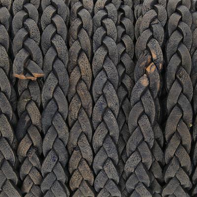 Flachriemen Rindsleder, 100cm, 5x2,7mm, DUNKELGRAU meliert