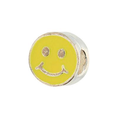 "Großlochperle ""Smiley"", innen 4,5mm, 10x8mm, gelb, Metall"